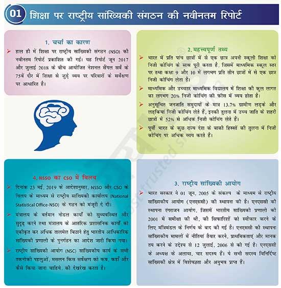 शिक्षा पर राष्ट्रीय सांख्यिकी संगठन की नवीनतम रिपोर्ट (NSO Latest Report on Education)