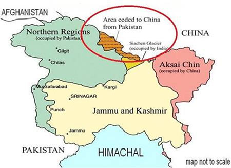 Map Area ceded to China from Pakistan