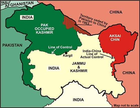 Map Territory ceded by Pakistan to China in 1963
